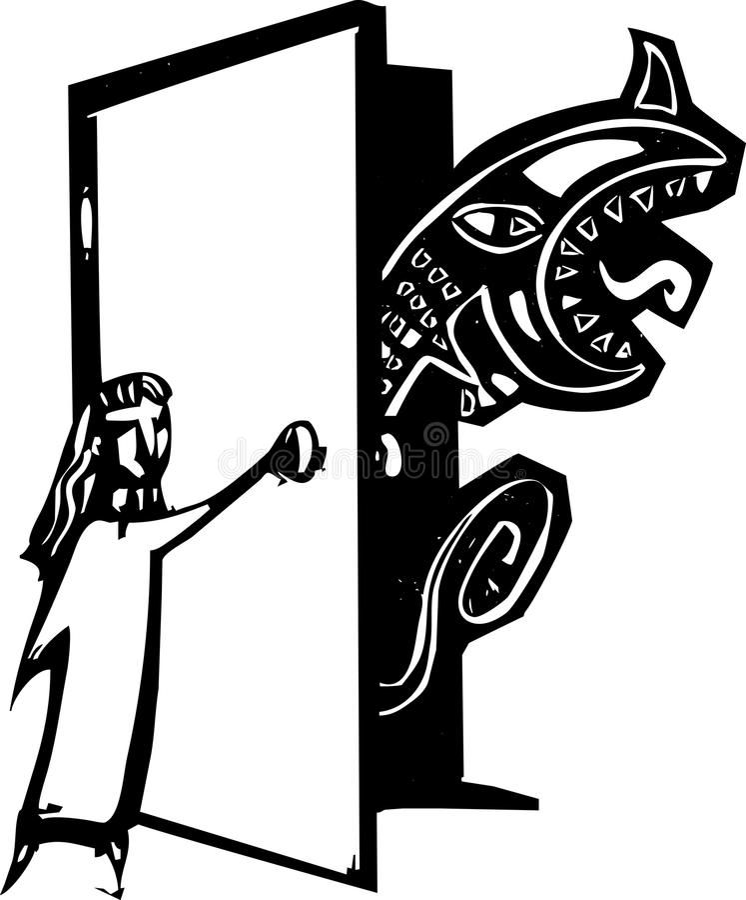 Wandschrank-Monster lizenzfreie abbildung