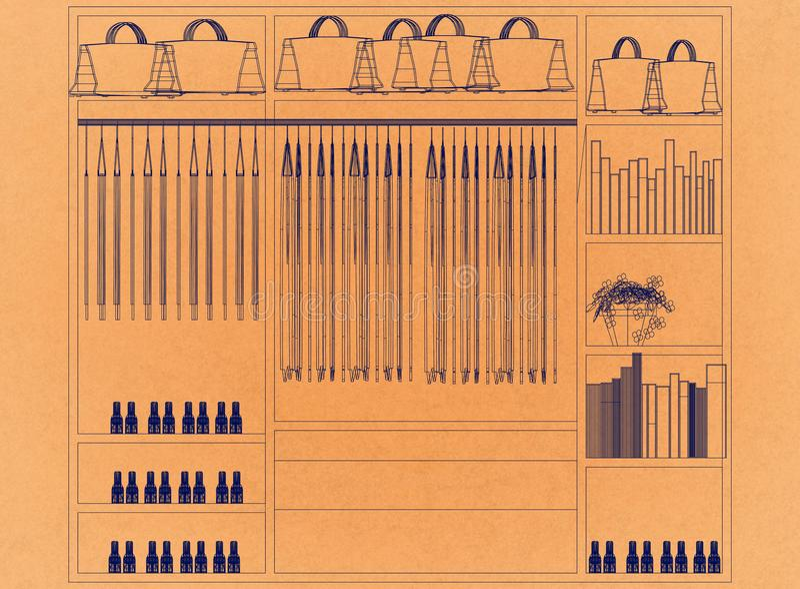 Wandschrank-Organisator Design - Retro- Architekt Blueprint lizenzfreie abbildung