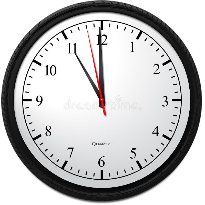 Wanduhr - Zeigen von 11 O-` Uhr stock abbildung