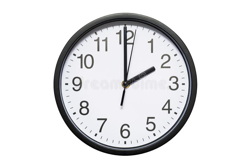 Wanduhr zeigt Zeit 2 Uhr auf weißem lokalisiertem Hintergrund Runde Wanduhr - Vorderansicht Vierzehn Uhr lizenzfreie stockbilder
