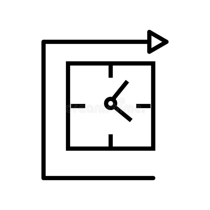 Wanduhrikonenvektor lokalisiert auf weißem Hintergrund, Wanduhrzeichen, Linie und Entwurfselementen in der linearen Art stock abbildung