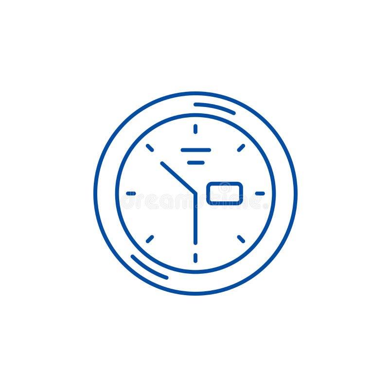 Wanduhrlinie Ikonenkonzept Flaches Vektorsymbol der Wanduhr, Zeichen, Entwurfsillustration stock abbildung