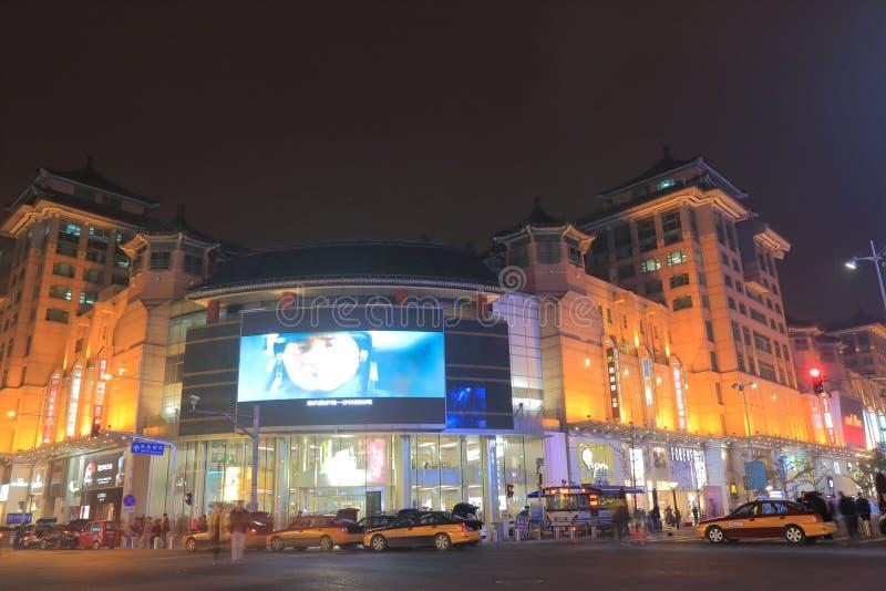 Wangfujing shopping cityscape Beijing China. People visit APM department store in Wangfujing in Beijing China stock images