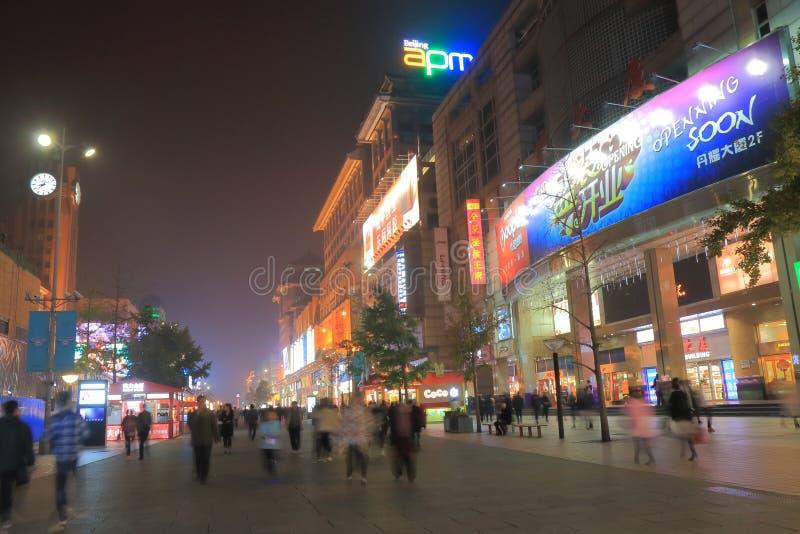 Wangfujing shopping cityscape Beijing China. People visit Wangfujing shopping street in Beijing China stock images