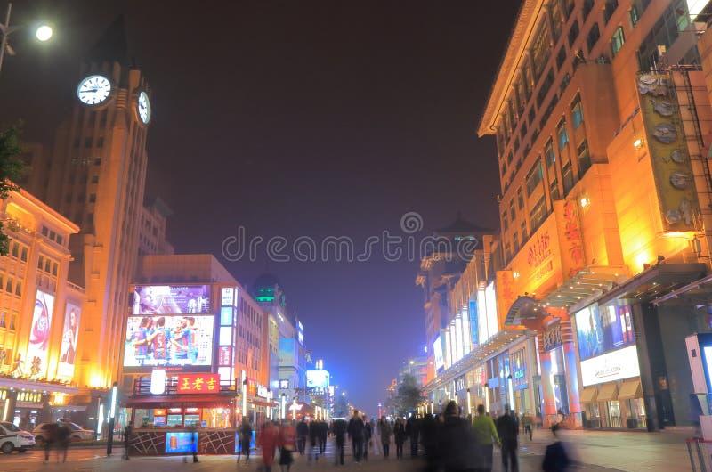 Wangfujing shopping cityscape Beijing China. People visit Wangfujing shopping street in Beijing China stock photography