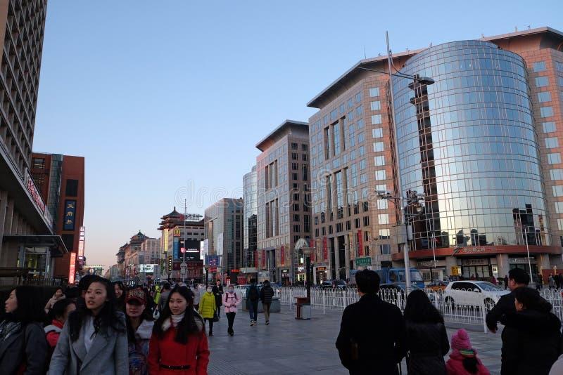 Wangfujing shopping street in center of Beijing royalty free stock photography