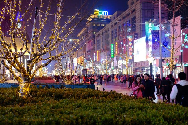 Wangfujing street in the night in Beijing China stock photo