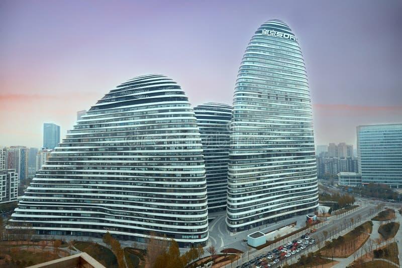 Wangjing SOHO, ориентир ориентир Пекина стоковые фотографии rf