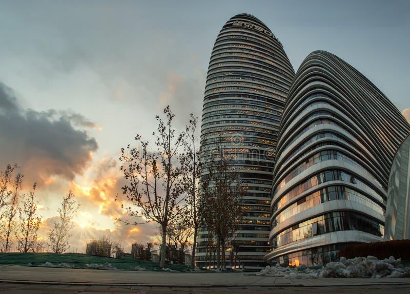Wangjing sohokontorsbyggnad, Peking, porslin royaltyfria bilder