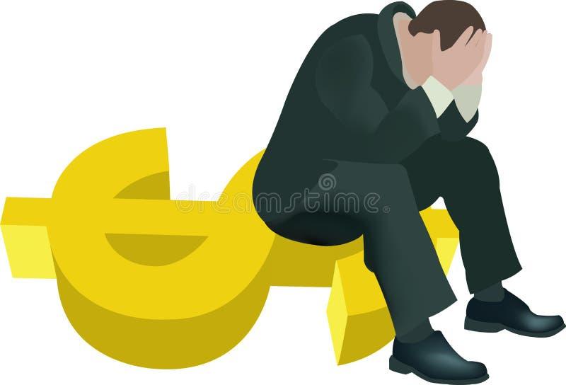 Wanhoop over de dalende dollar royalty-vrije illustratie