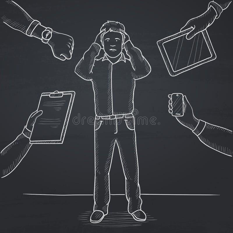 Wanhopige mens die zijn hoofd clutching vector illustratie