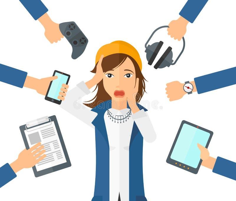 Wanhopige vrouw met gadgets stock illustratie
