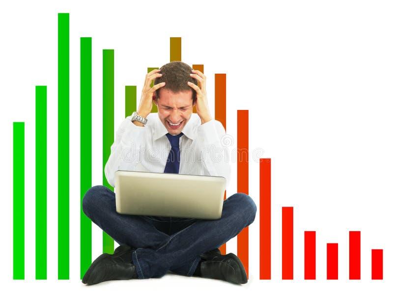 Wanhopige zakenman, financieel crisisconcept royalty-vrije stock foto
