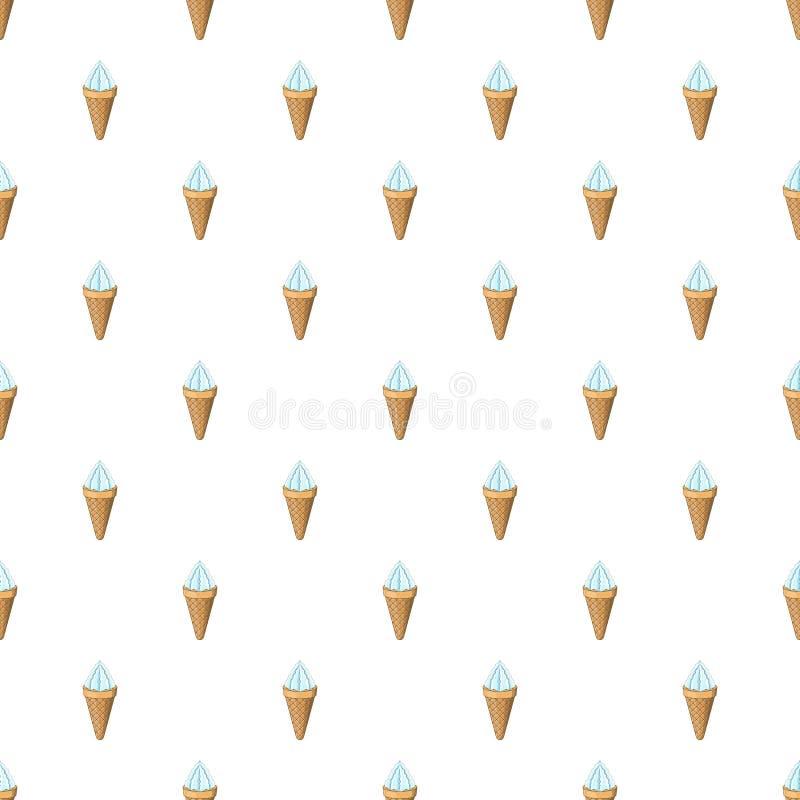 Waniliowy lody w gofra rożka wzorze ilustracja wektor