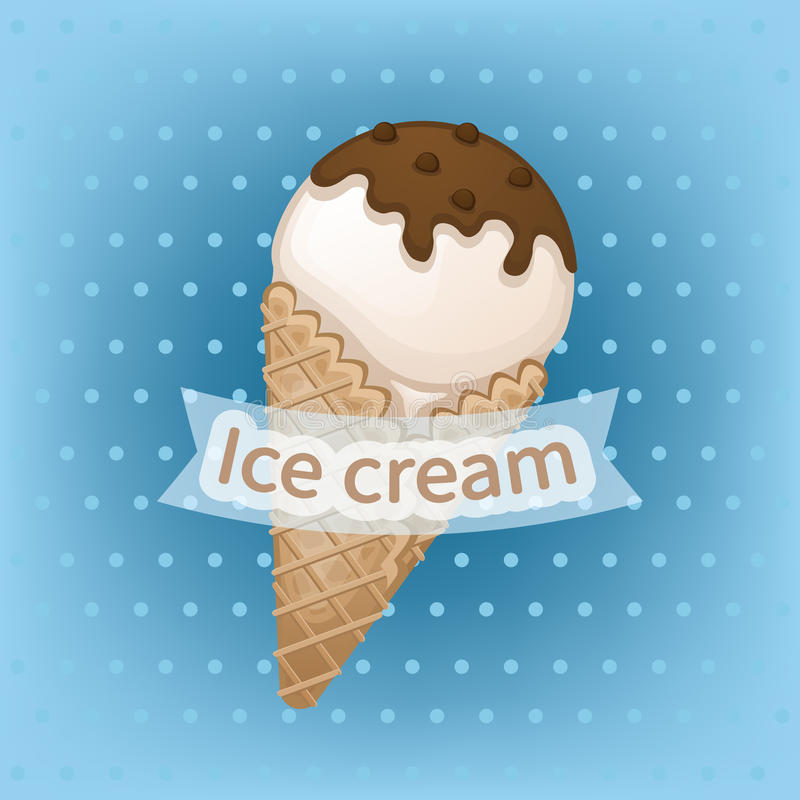 Waniliowy lody z czekoladową polewą w gofra rożku Wyśmienicie słodki lody z czekoladą kropi ilustracja wektor