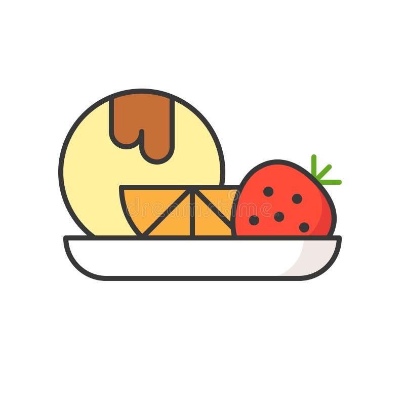 Waniliowy lody z owoc cukierki i ciasto set, wypełniał za royalty ilustracja