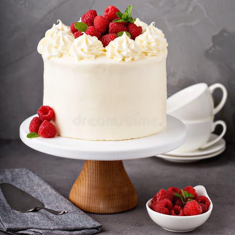 Waniliowy malinka tort z białym mrożeniem fotografia stock