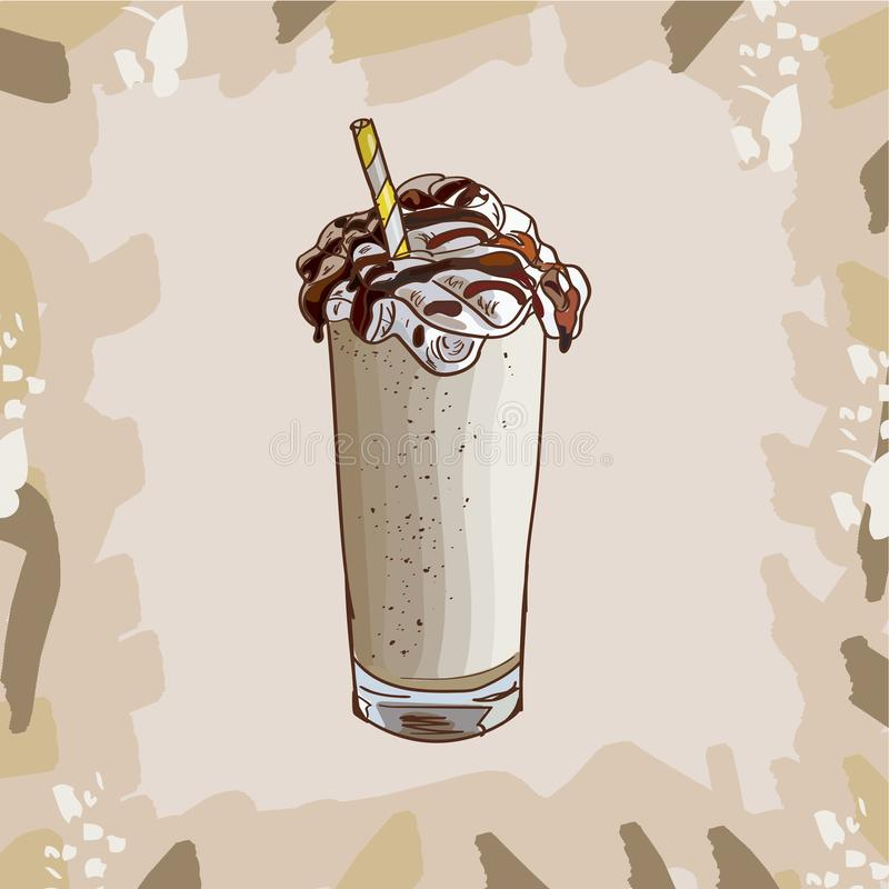 Waniliowy Milkshake przepis Menu element dla kawiarni lub restauracja z dojnym świeżym napojem Świeży koktajl dla zdrowego życia royalty ilustracja