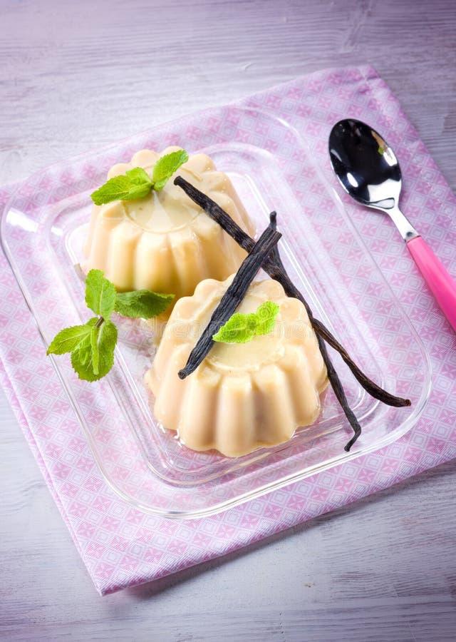 Waniliowy pudding z waniliowym kijem obraz stock
