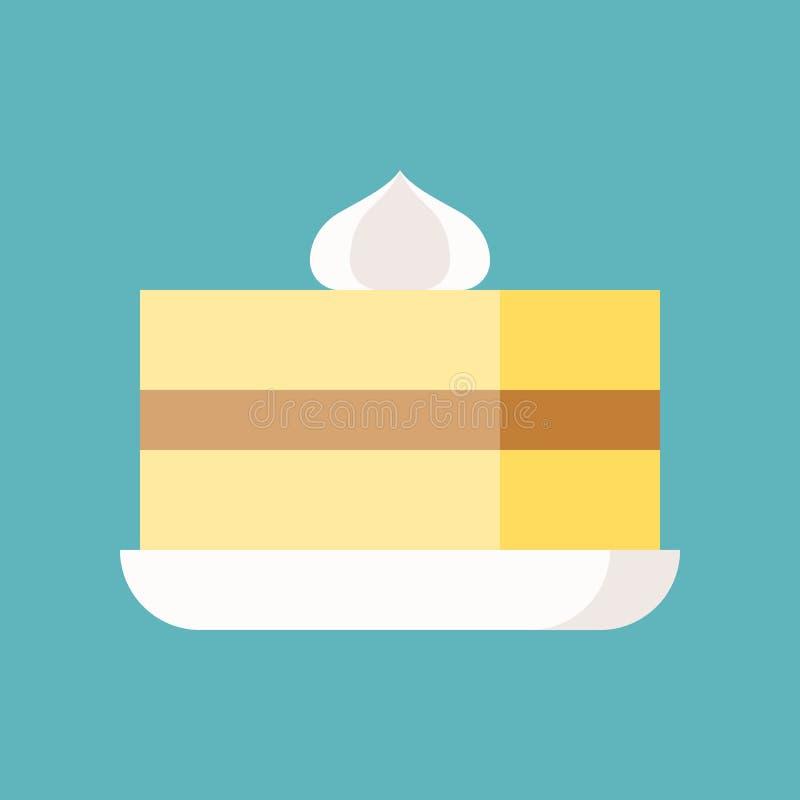 Waniliowy warstwa tort z czekoladowym plombowaniem, cukierkami i ciasto setem, royalty ilustracja