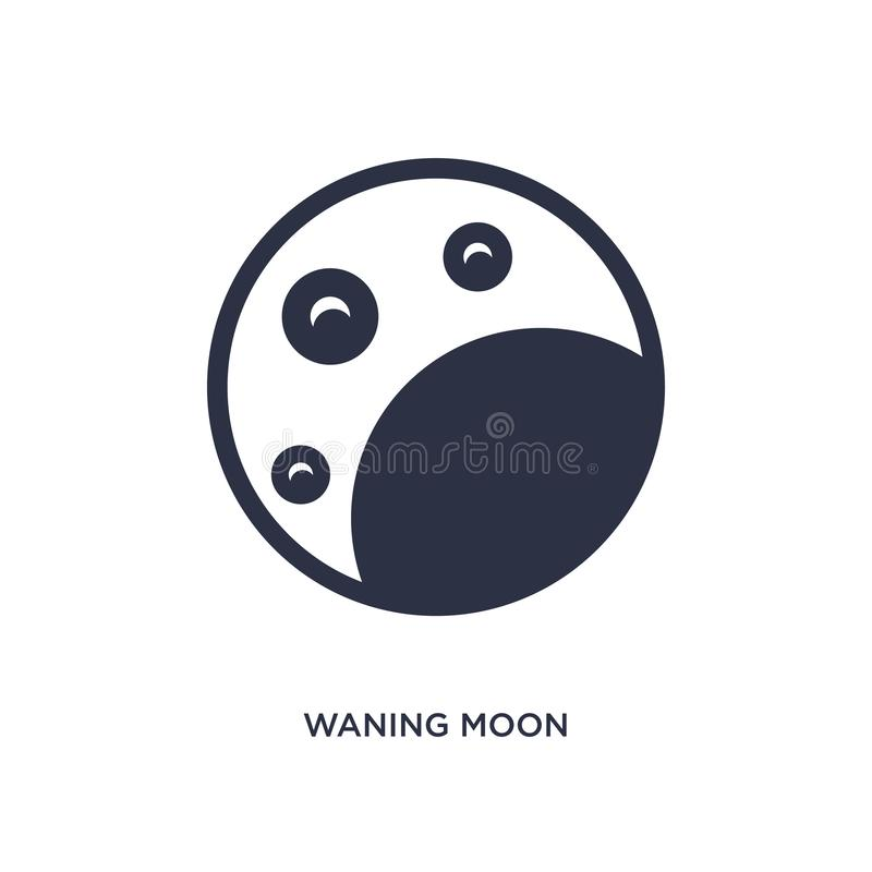 waning значок луны на белой предпосылке Простая иллюстрация элемента от концепции погоды иллюстрация штока