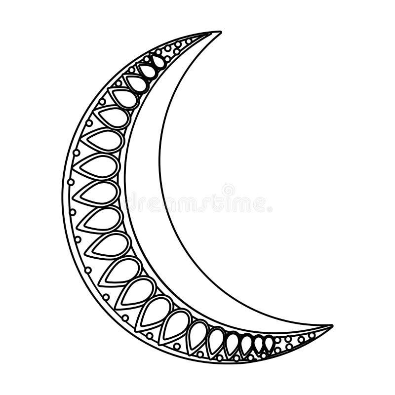 Waning значок луны черно-белый иллюстрация вектора