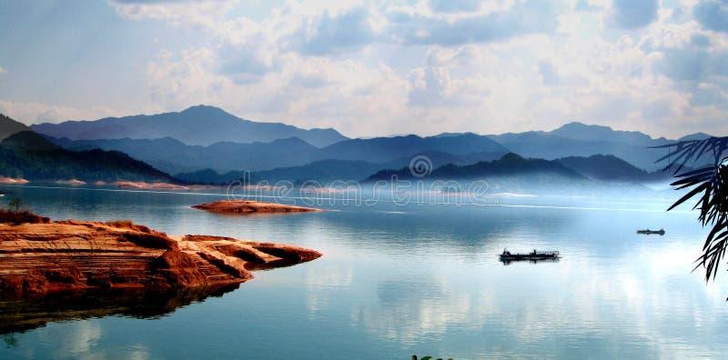 Wanlvhu lake, guangdong china. Wanlvhu lake,heyuan,guangdong,clean and clear water,boat floating on the lake royalty free stock image