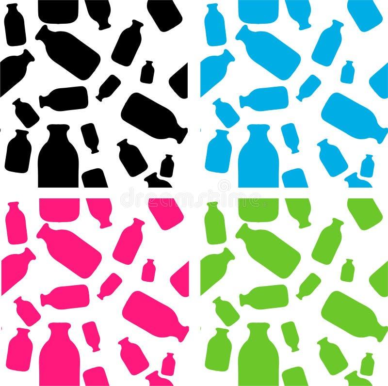 Wanna Milk, Cow Milk Bottle Patterns Set Design Stock Images