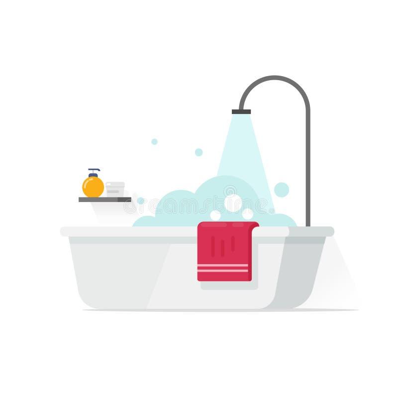 Wanna z piana bąblami i prysznic wektorową ilustracją odizolowywającymi na białym, płaskim kreskówki łazienki pomysle, ilustracji