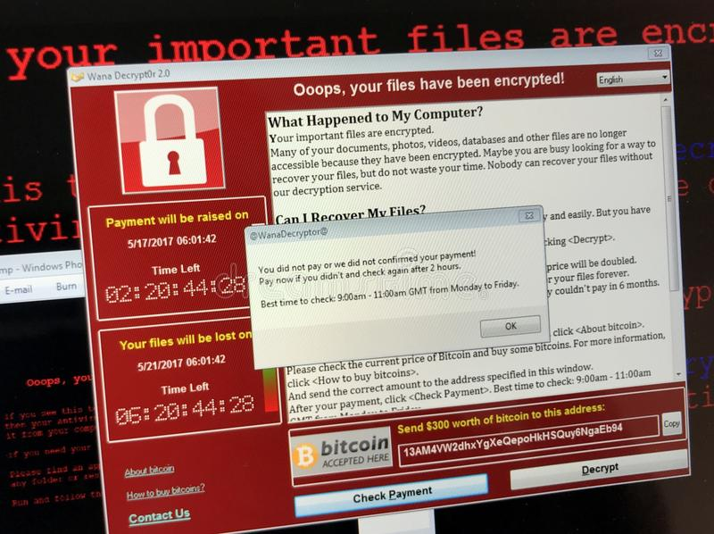 WannaCry ransomware aanval stock foto's