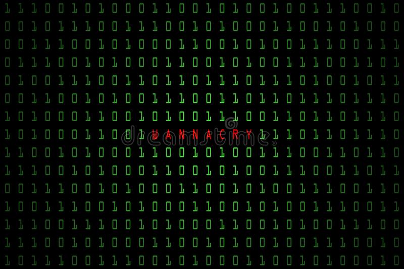 Wannacry word with technology digital dark or black background with binary code in light green color 1001. Digital background royalty free illustration