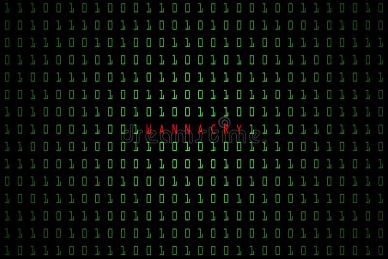 Wannacrywoord met technologie digitale donkere of zwarte achtergrond met binaire code in lichtgroene kleur 1001 royalty-vrije illustratie