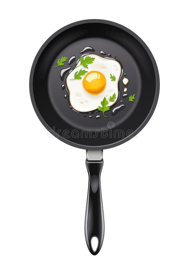 Wanne mit Spiegelei Kochen des Lebensmittels stock abbildung