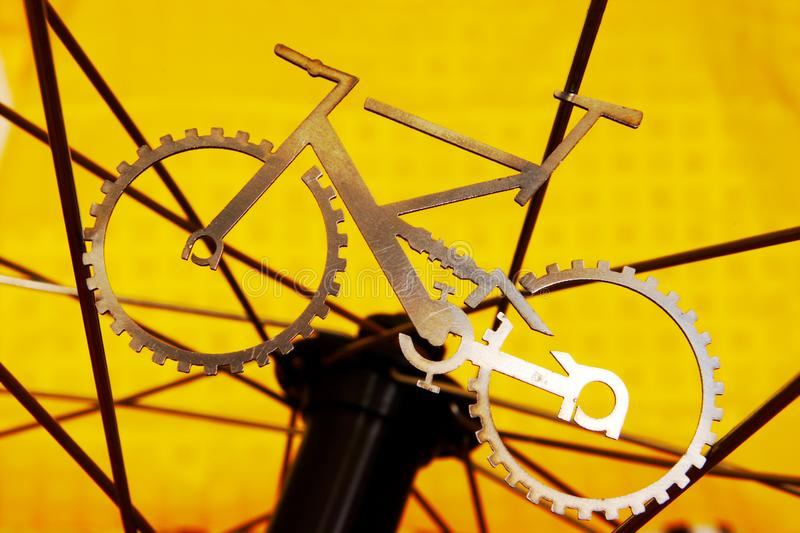 Wanneer de fiets wiel ontmoet stock foto's