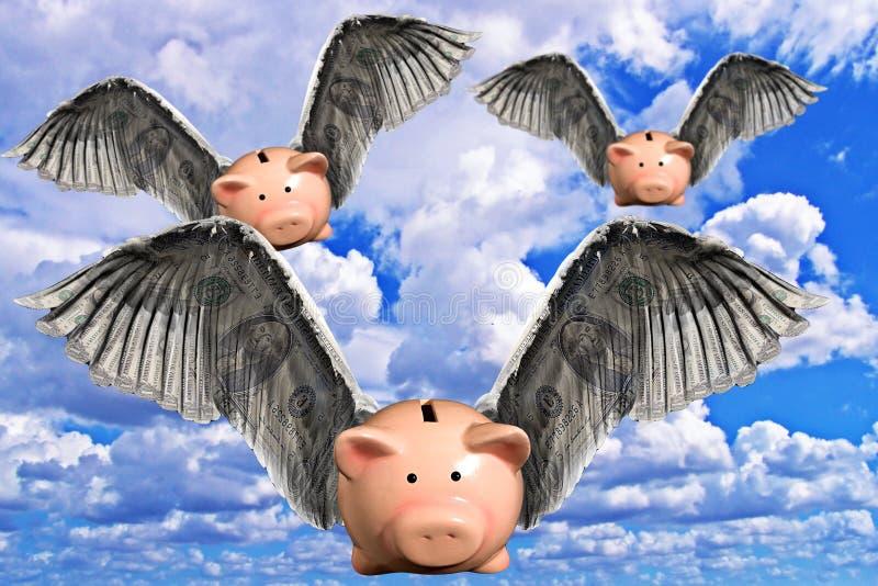 Wanneer de Varkens vliegen stock afbeelding