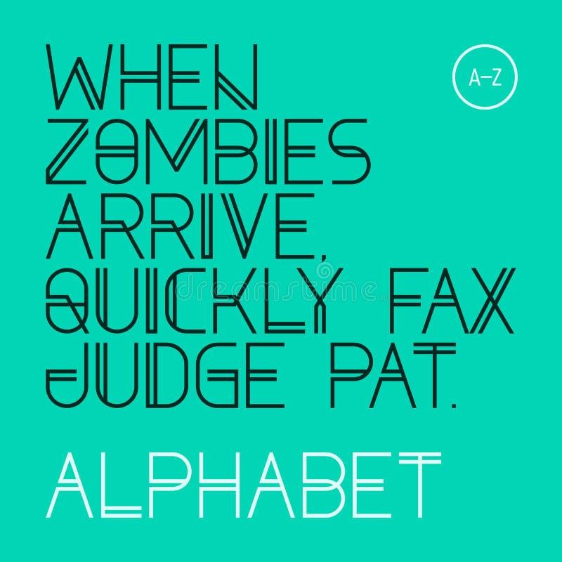 Wanneer de zombieën aankomen, 3p telefax ver*sturen snel rechter Pat Moderne doopvont, alfabet stock illustratie