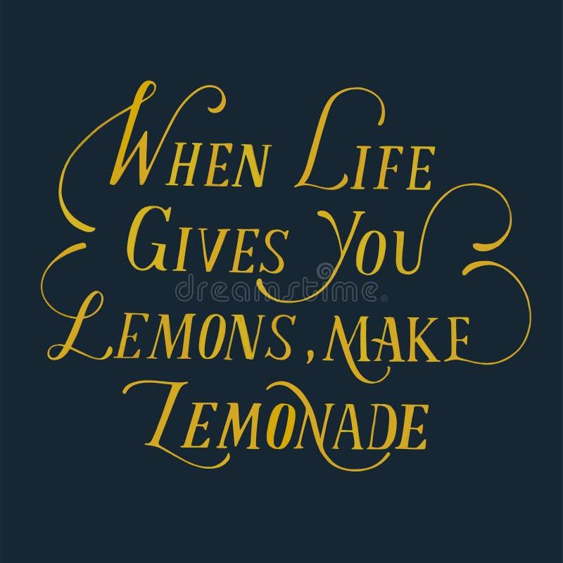 Wanneer het leven u geeft maken de citroenen limonade stock illustratie