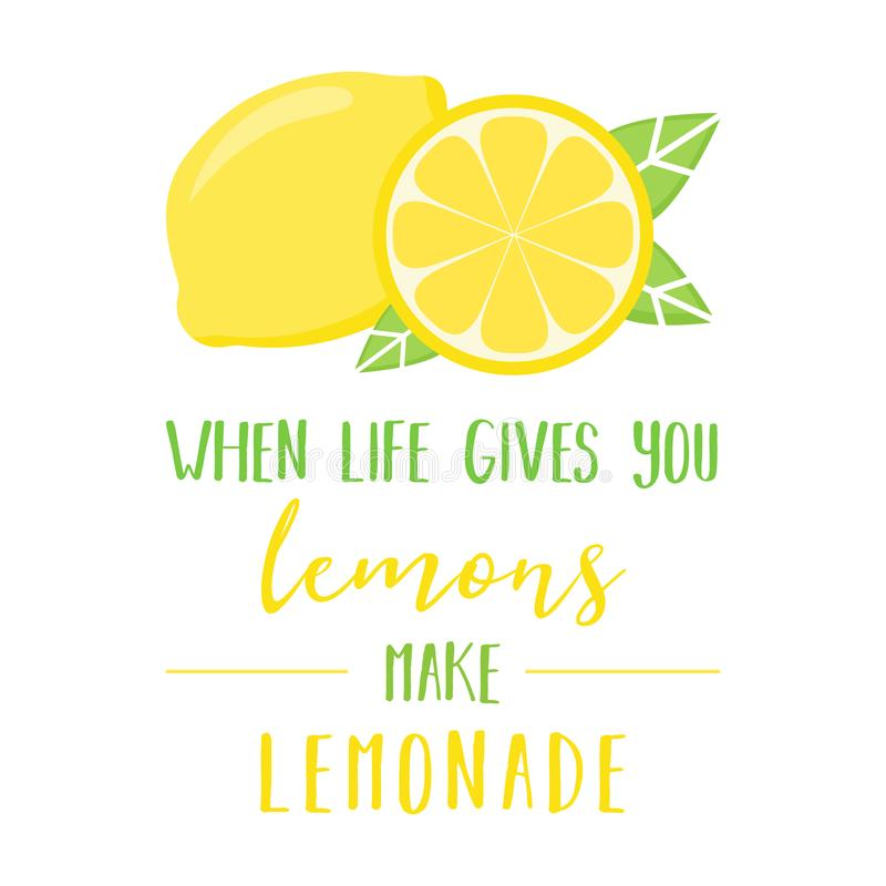 Wanneer het leven u geeft maken de citroenen limonade vector illustratie