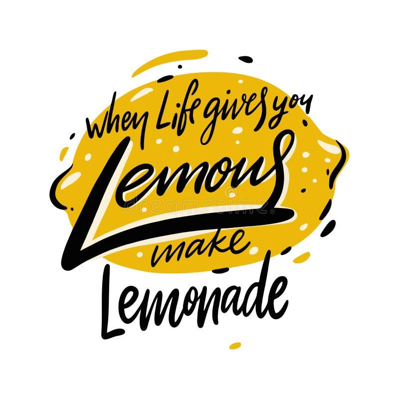 Wanneer het leven u geeft maken de citroenen limonade Hand het getrokken vector van letters voorzien royalty-vrije illustratie