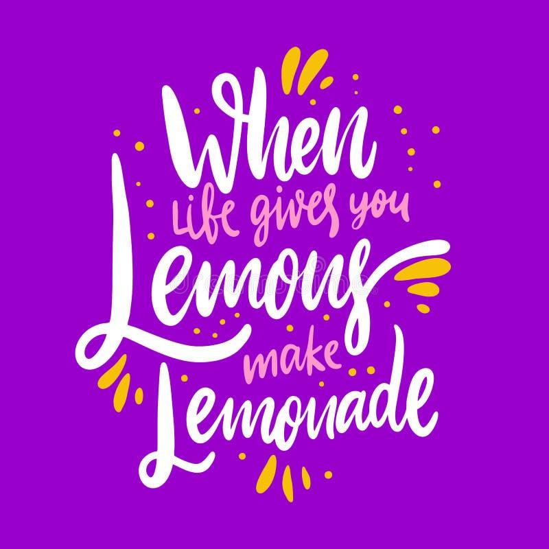 Wanneer het leven u geeft maken de citroenen limonade Hand het getrokken vector van letters voorzien vector illustratie