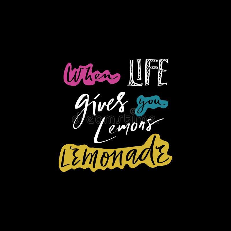 Wanneer het leven u geeft maken de citroenen limonade Handdrawn motieven het van letters voorzien uitdrukking Goed voor koffie of stock illustratie
