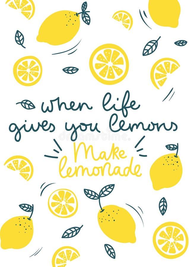 Wanneer het leven u geeft maken de citroenen tot limonade die inspirational kaart met krabbelscitroenen, bladeren op witte achter stock illustratie