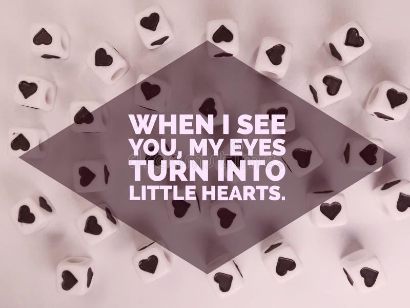 Wanneer ik u mijn ogen word kleine inspirational harten zie citeer royalty-vrije stock afbeeldingen