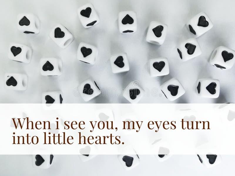 Wanneer ik u mijn ogen word kleine inspirational harten zie citeer royalty-vrije stock fotografie