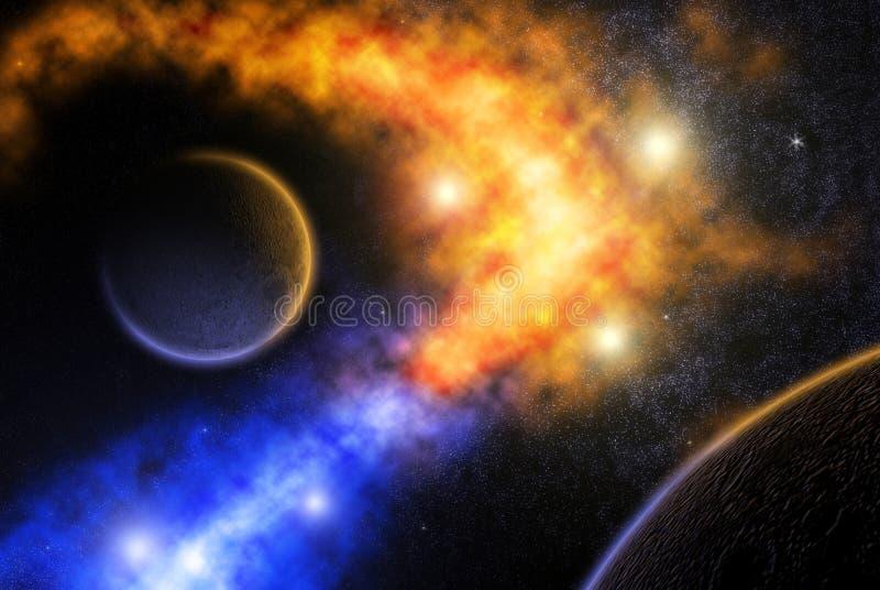 Wanneer nebulas samenkomen. royalty-vrije illustratie
