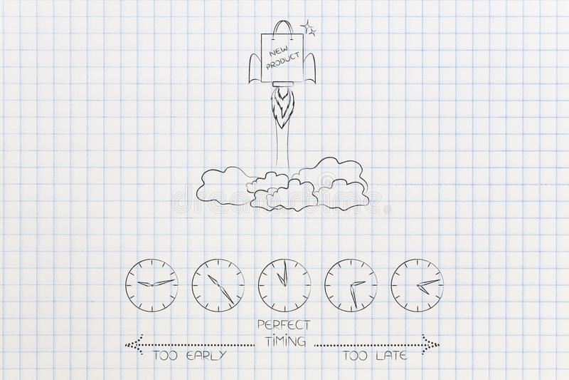 Wanneer om een nieuw product met het winkelen te lanceren zak die als roc vliegen vector illustratie