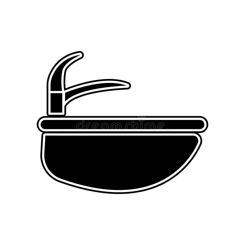 Wannenikone Element des Badezimmers f?r bewegliches Konzept und Netz Appsikone Glyph, flache Ikone f?r Websiteentwurf und Entwick stock abbildung