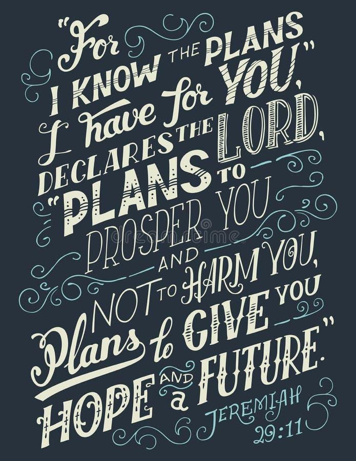 Want ik de plannen ken heb ik voor u bijbelcitaat stock illustratie
