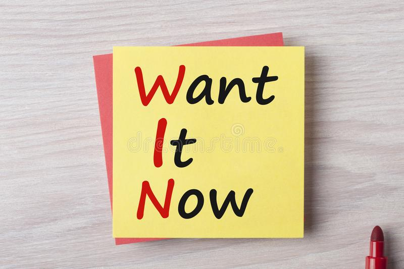 Want It Now Concept stock photo