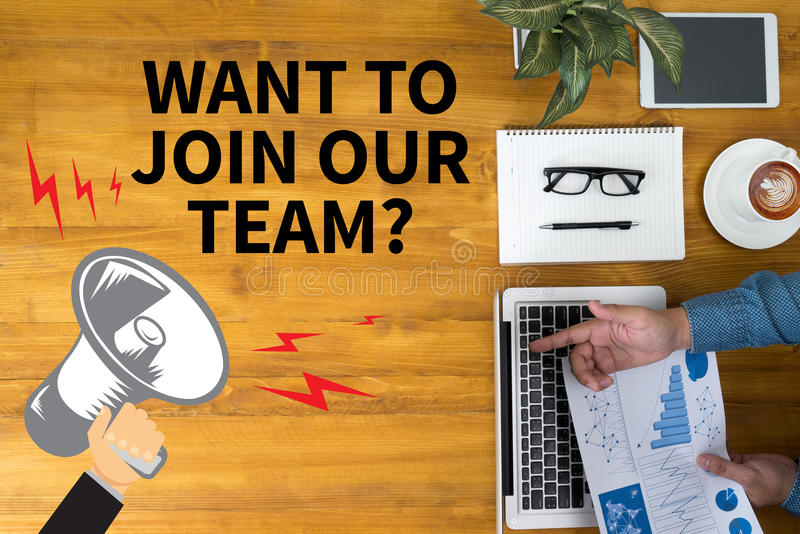 WANT TO JOIN OUR TEAM? stock illustration